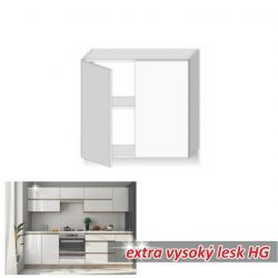 LINE WHITE Felső szekrény 2 ajtós függőleges extra magasfényű fehér