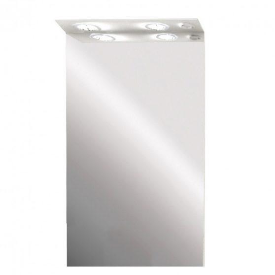 Toscano fürdőszoba tükör 55 cm LED megvilágítással, magasfényű festett fehér
