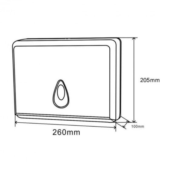 Papírkéztörlő tartó, fehér, pvc, méret: 20,5x26x10,5 cm
