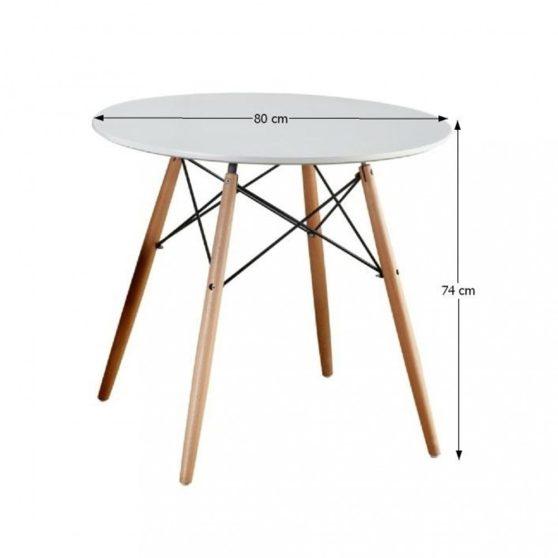 GAMIN 80 Étkezőasztal fa lábak + MDF fehér