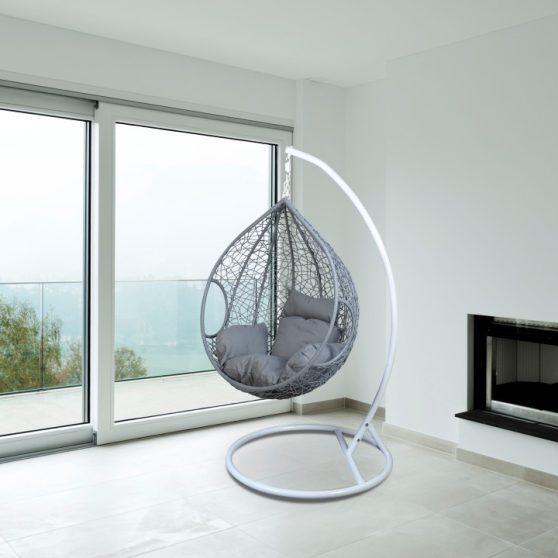 NOELA Modern függő fotel fehér keret+szürke rattan+szürke