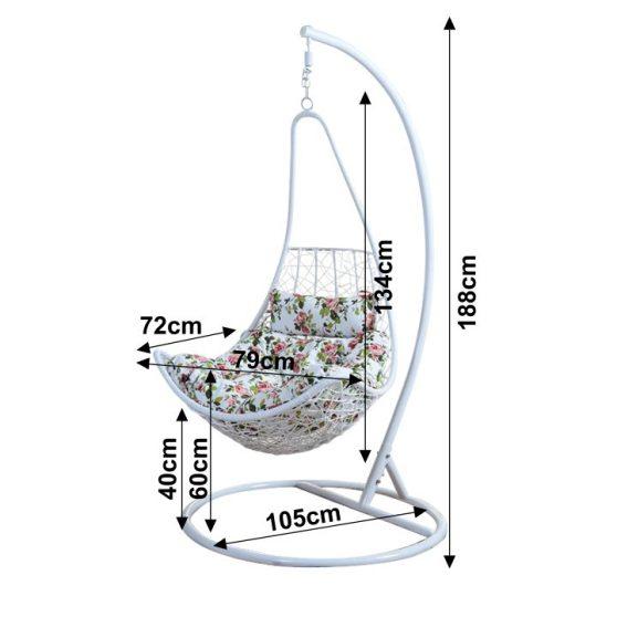 KALEA Modern függő fotel fehér keret+fehér rattan+virág minta