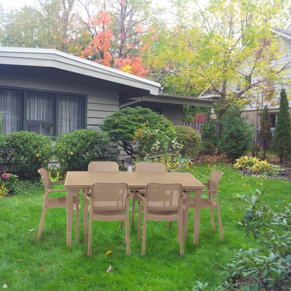 Fubali 6+1 kerti bútor garnitúra szett színben cappuccino