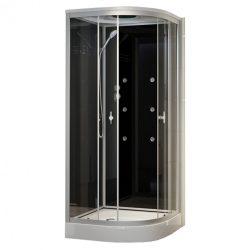 Fekete üveghátfalas hidromasszázs zuhanykabin