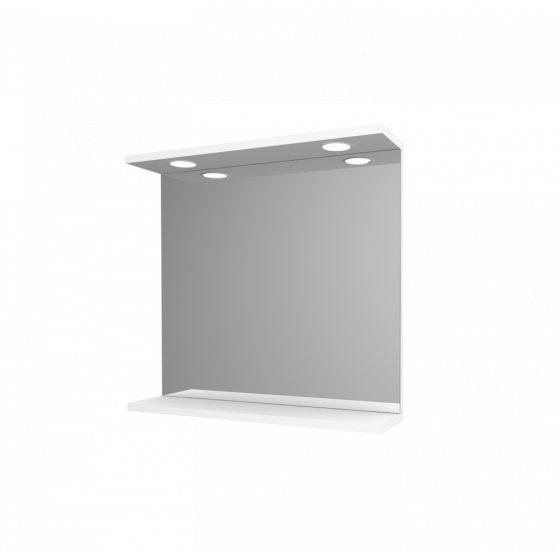Toscano Új fürdőszoba tükör 65 cm LED megvilágítással, magasfényű festett fehér polcos