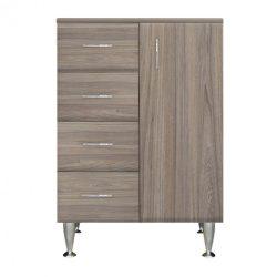 Bianca Plus 60 alacsony szekrény 1 ajtóval, 4 fiókkal,rauna szil színben, jobbos