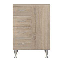 Bianca Plus 60 alacsony szekrény 1 ajtóval, 4 fiókkal,sonoma tölgy színben, jobbos
