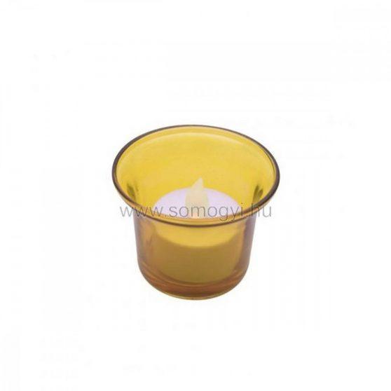 LED-es teamécses, sárga tartóval, 3V