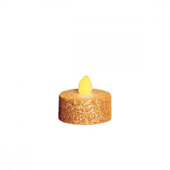 LED-es teamécses, arany glitter, 2 db, 3V