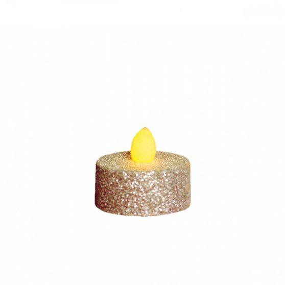 LED-es teamécses, ezüst glitter, 2 db, 3V
