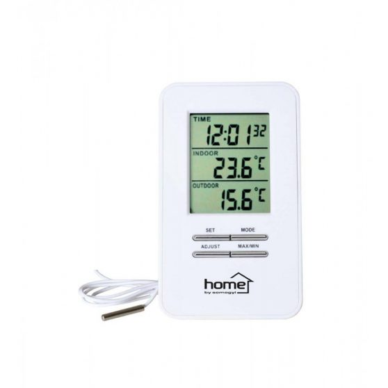 Vezetékes külső-belső hőmérő órával