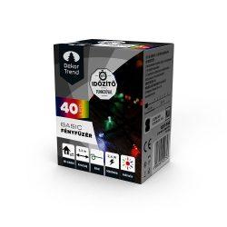Basic 40 LED fényfüzér időzítővel, elemes, színes