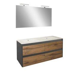 Porto Prime 120 komplett fürdőszoba bútor antracit-country tölgy színben
