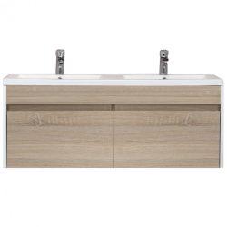 Primo 120 alsó fürdőszoba bútor mosdóval tükörfényes fehér-sonoma tölgy színben