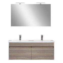 Primo Prime 120 komplett fürdőszoba bútor tükörfényes fehér-rauna szil színben