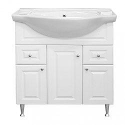 Rómeó fürdőszoba bútor alsószekrény mosdóval 75cm, magasfényű fehér színben