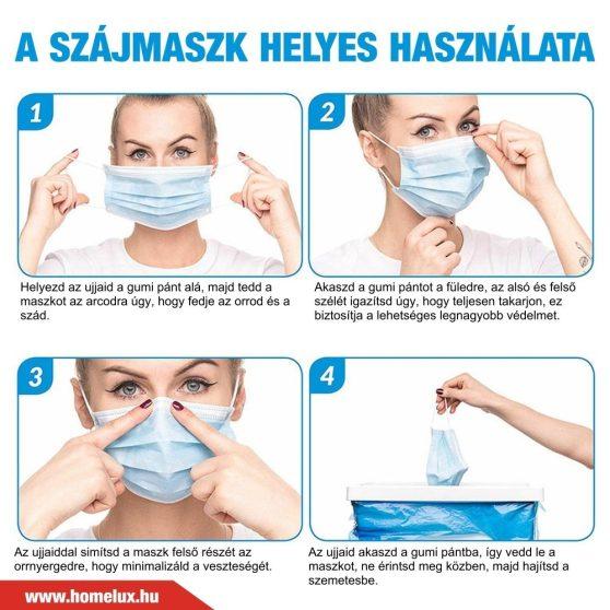 Orvosi szájmaszk három rétegű, eldobható