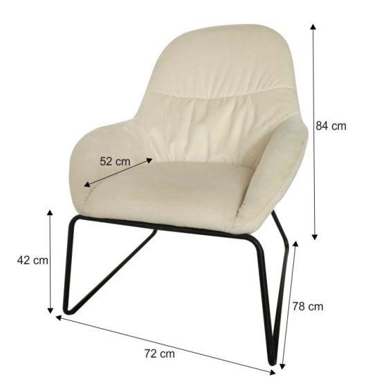 Dizájn fotel, bézs-fekete fém, MARTEL