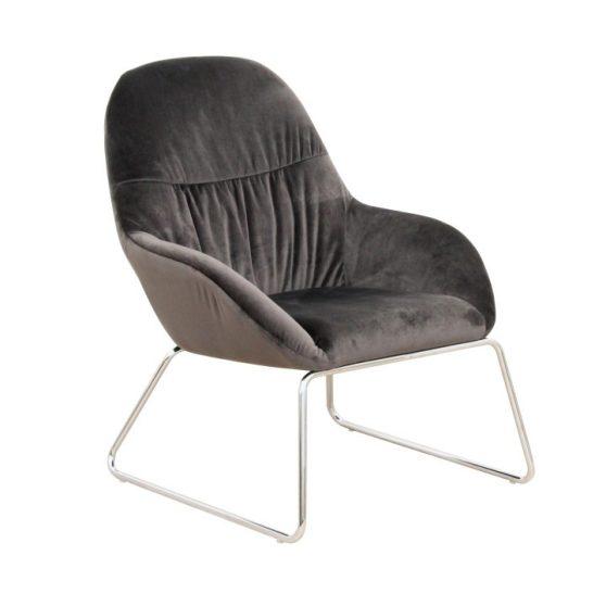 Dizájn fotel, sötétszürke-króm, MARTEL
