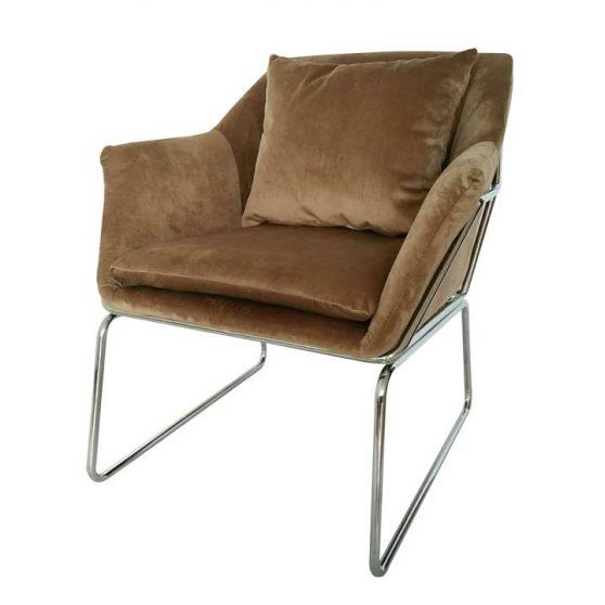 Dizájn fotel, barna-króm, KADAR