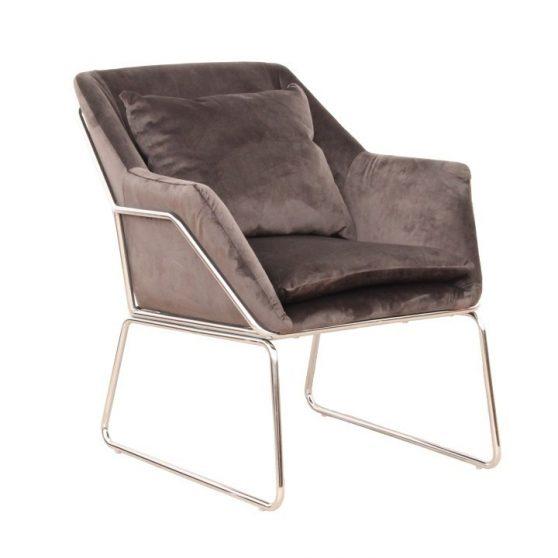 Dizájn fotel, sötétszürke-króm, KADAR
