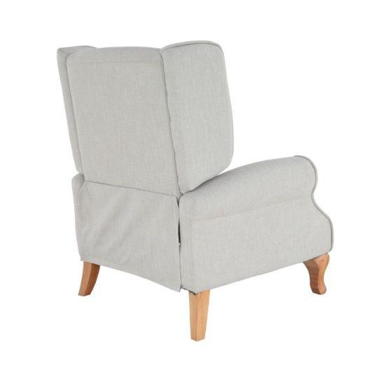Állítható fotel zsámollyal, bézs anyag-fa, ARMIN