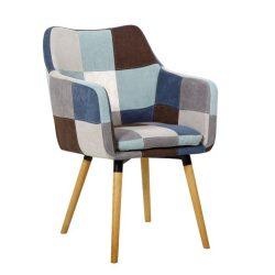 Fotel, kék-bézs minta patchwork-bükk, LANDOR