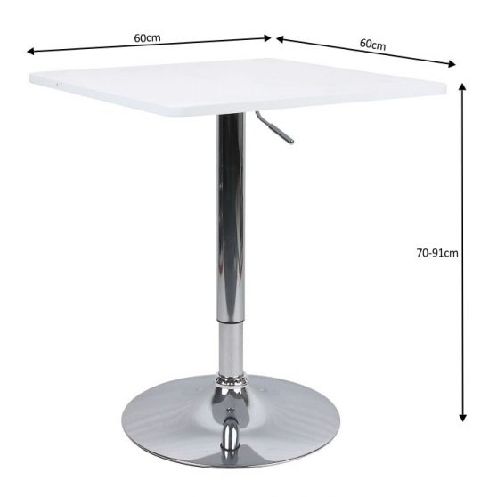 Bár asztal állítható magasságú, fehér, FLORIAN New