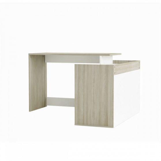 NEVADIS Sarok PC asztal, fehér-tölgy shanon
