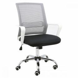 APOLO Irodai szék, hálószövet szürke-szövet fekete-műanyag fehér