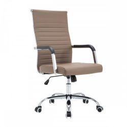 FARAN Irodai szék, műbőr-fém, taupe-króm