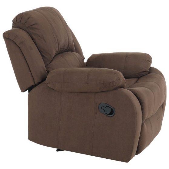 Állítható relaxáló fotel, barna szövet, ASKOY