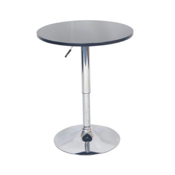 Bárasztal, magasság állítással, króm-fekete, BRANY NEW