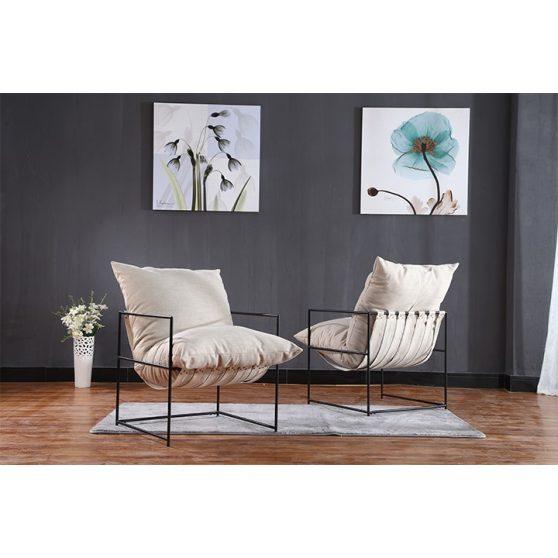 Modern fotel, bézs-fekete, DEKER