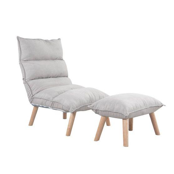 Állítható fotel lábtartóval, krém-bükk, BANKS