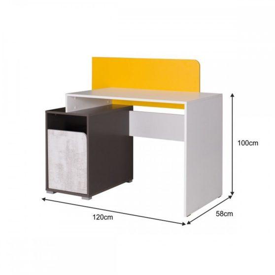 MATEL PC asztal B8, fehér-szürke grafit-enigma-sárga