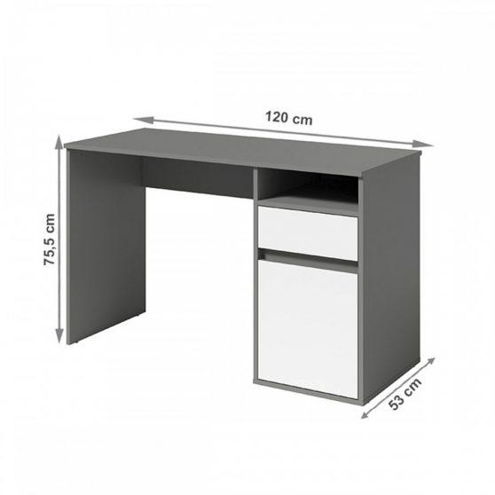 BILI PC asztal, sötétszürke-grafit-fehér