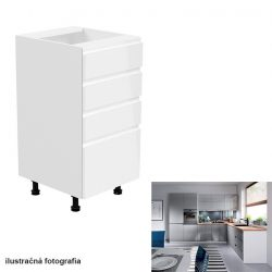 Alsószekrény, fehér-szürke extra magasfényű, AURORA D40S4