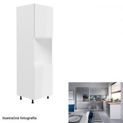 Élelmiszer szekrény, fehér-szürke extra magasfényű, AURORA D60P