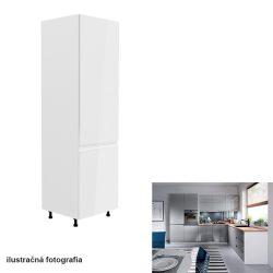 Hűtő beépítő szekrény, fehér-szürke extra magasfényű, jobbos, AURORA D60ZL