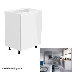Alsószekrény, fehér-szürke extra magasfényű, jobbos, AURORA D601F