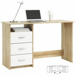 LARISTOTE Számítógépasztal, sonoma tölgyfa/fehér