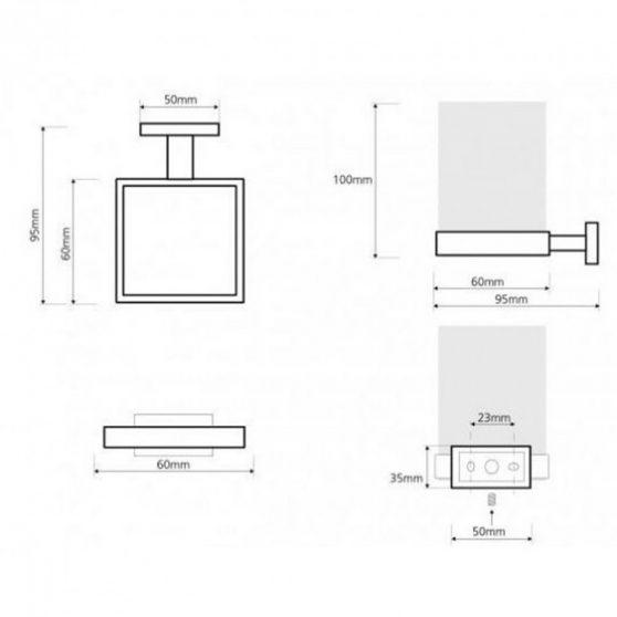 PLAZA pohártartó, 60x100x95 mm
