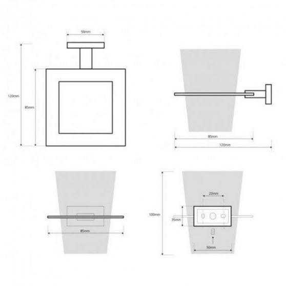 PLAZA pohártartó, 85x100x120 mm